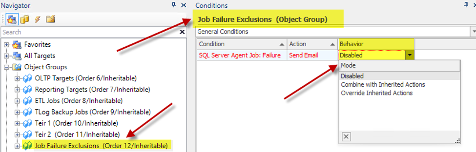 Applying and disabling a condition at an Object Group level