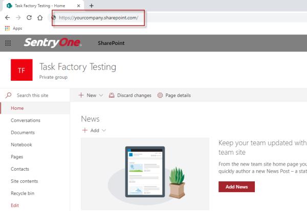 Example SharePoint base URL