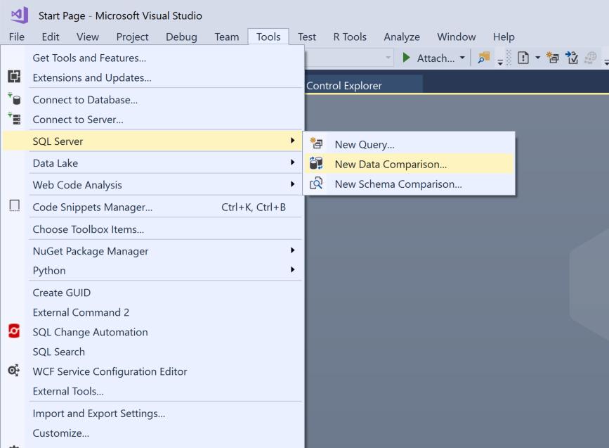 Figure 1—Example of starting a Visual Studio data comparison