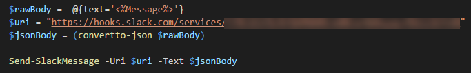 PowerShell - Send-SlackMesage Example