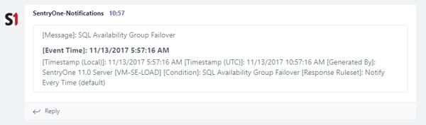 SentryOne PowerShell Teams notification