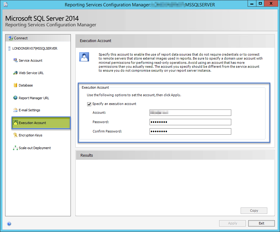 SSRS Execution Account Setup