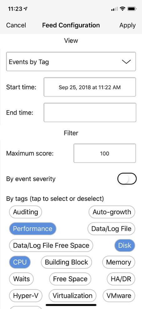 SentryOne Mobile App Custom Filters