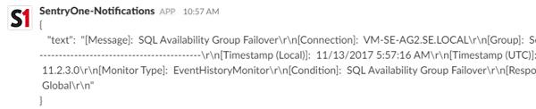 SentryOne PowerShell Slack Notification