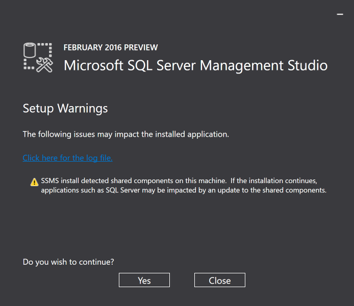 SSMS Setup Warnings