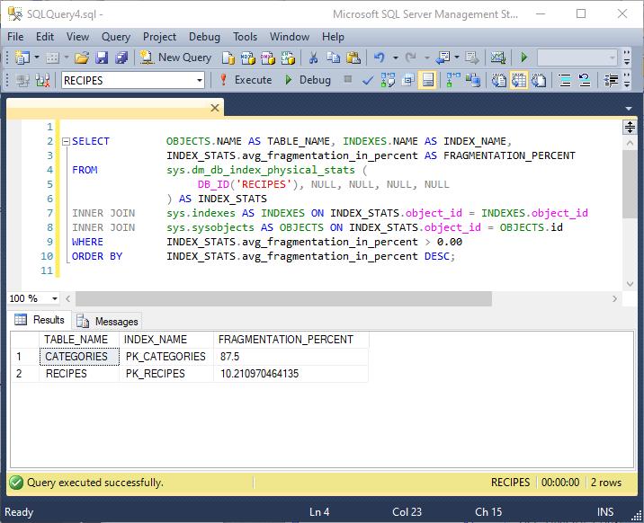 Figure 1: Measure SQL Server Index Fragmentation
