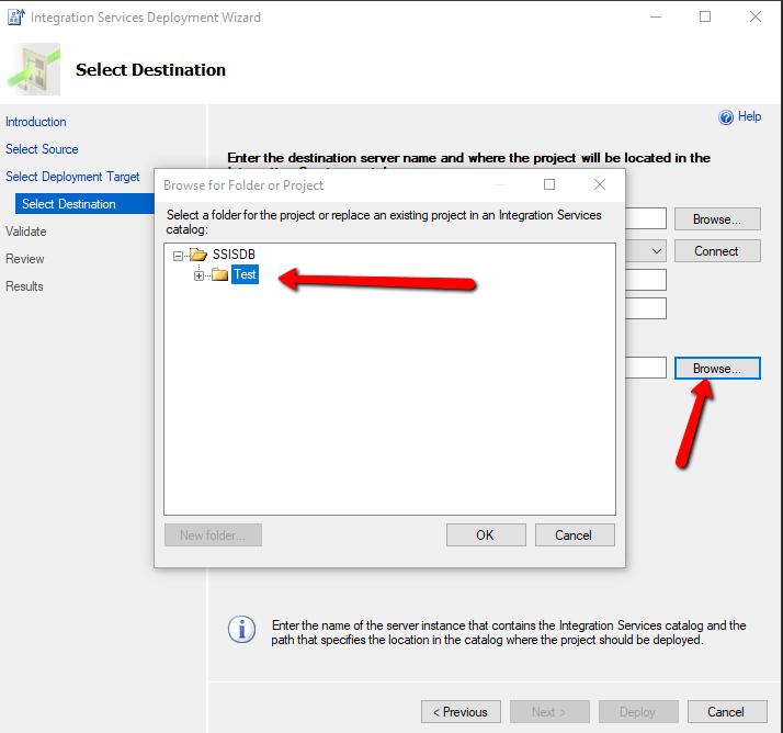 Select destination and choose folder