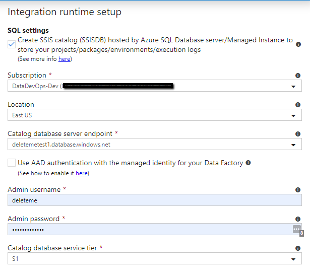 Integration runtime setup menu