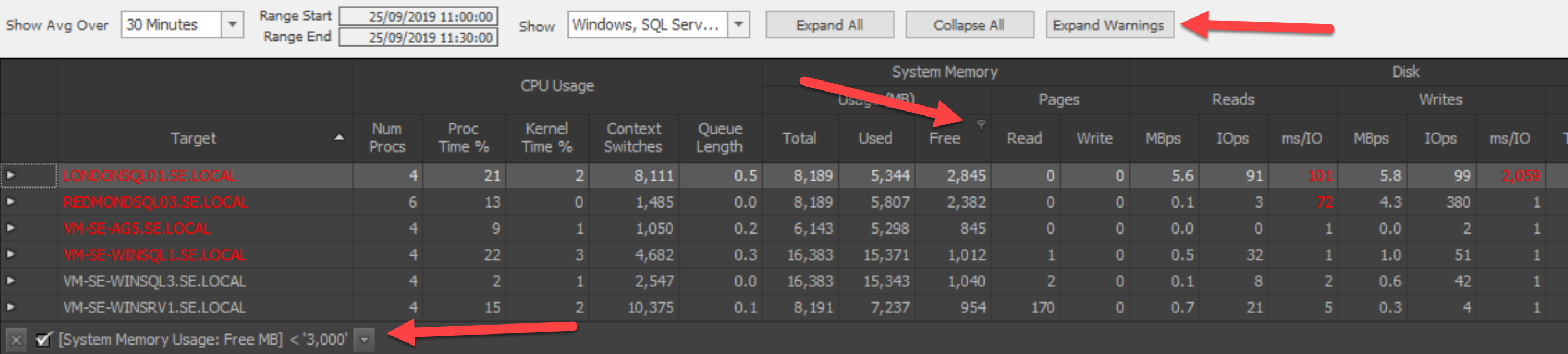 Filtering by System Memory Usage