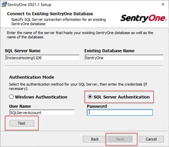 Using the SQL Server account for the database connection