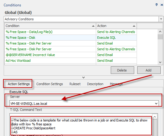 Action Settings configuration for Execute SQL action
