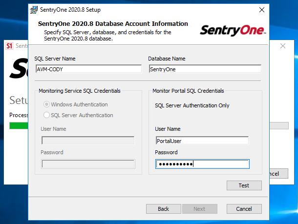 SentryOne Portal Database Account Verification