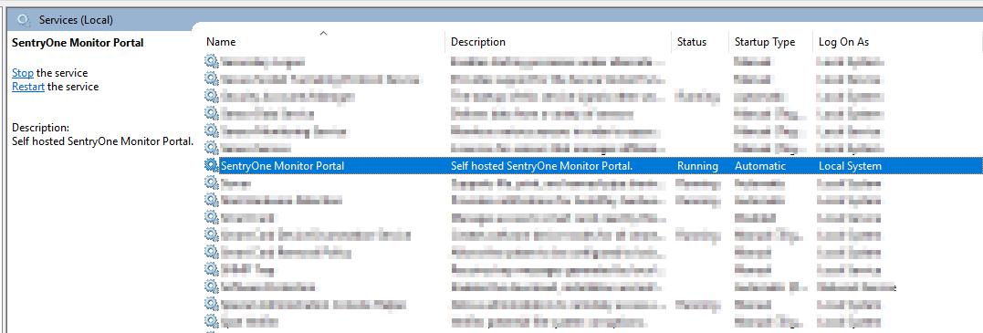 SentryOne Portal Windows Service