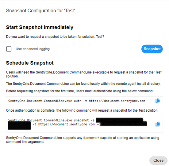 Start Snapshot Immediately