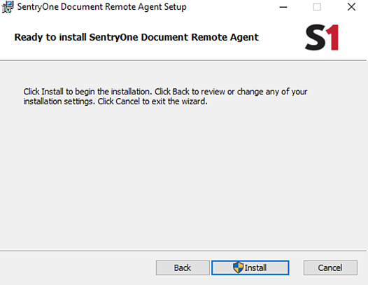 Ready to Install SentryOne Document Remote Agent