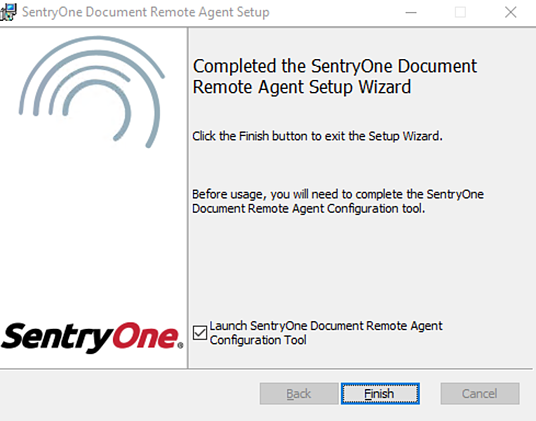 Completed SentryOne Document Remote Agent Setup Wizard