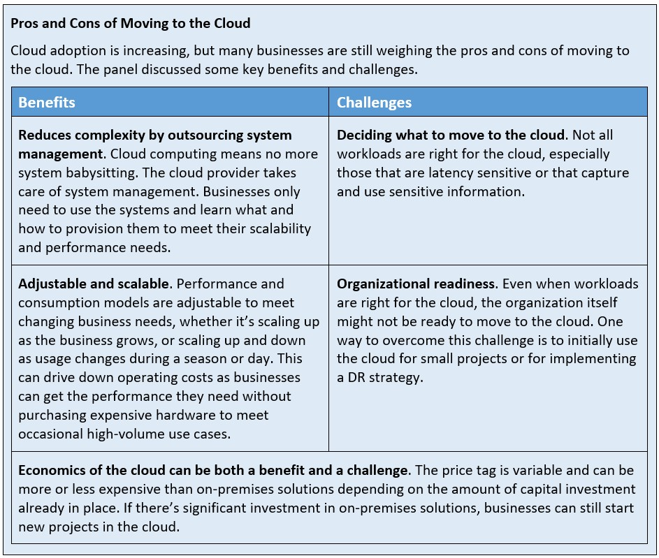 Pros and cons of Moving to the Cloud