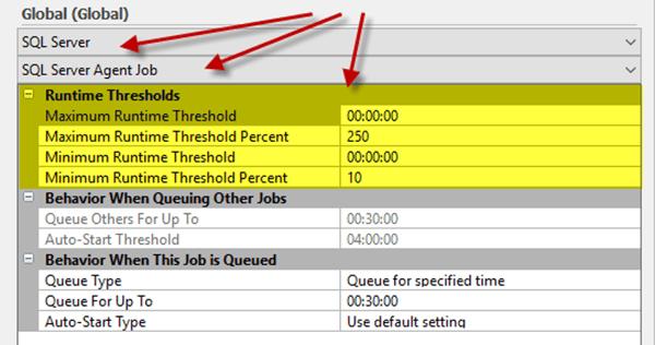 SQL Server Agent Job Runtime settings