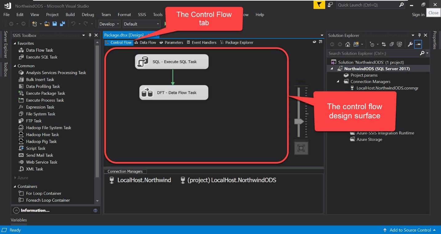 SSIS Control Flow Screenshot
