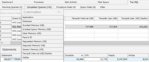 Top SQL Memory Allocation Columns