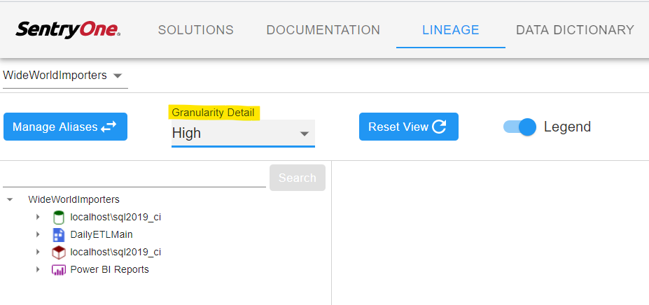 SentryOne Document Lineage granularity detail selection