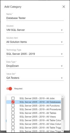 SentryOne Document Add Category Screenshot