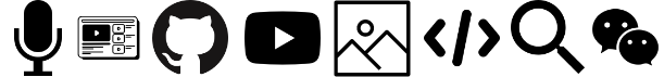 Technical writing activities icons for microphone, web page, GitHub, YouTube, image, code, magnifying glass, and chat