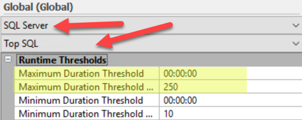Top SQL Duration Settings