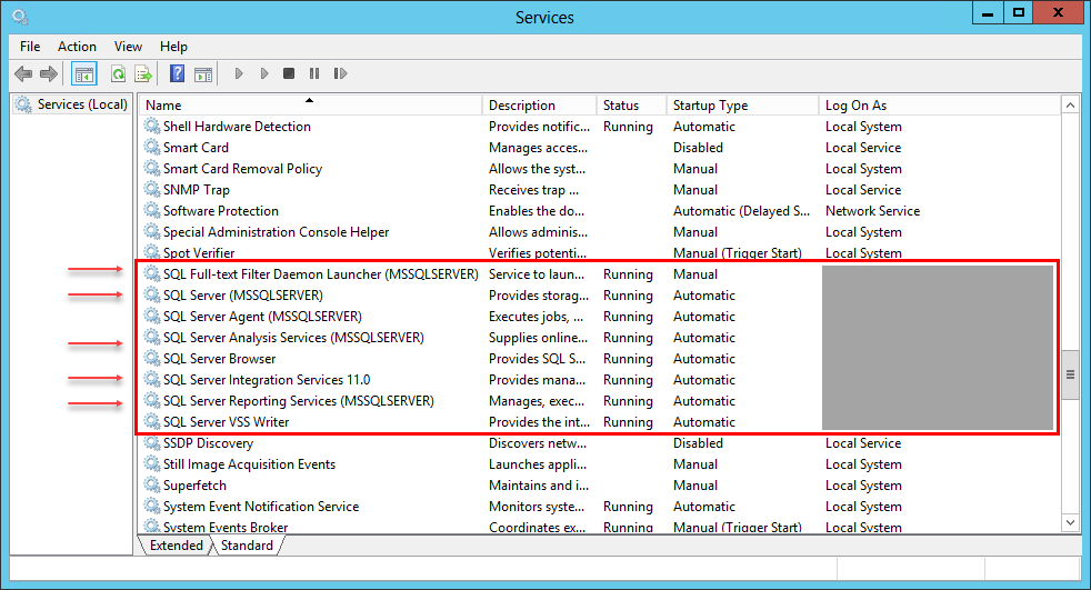 Figure 2: Partial list of available services