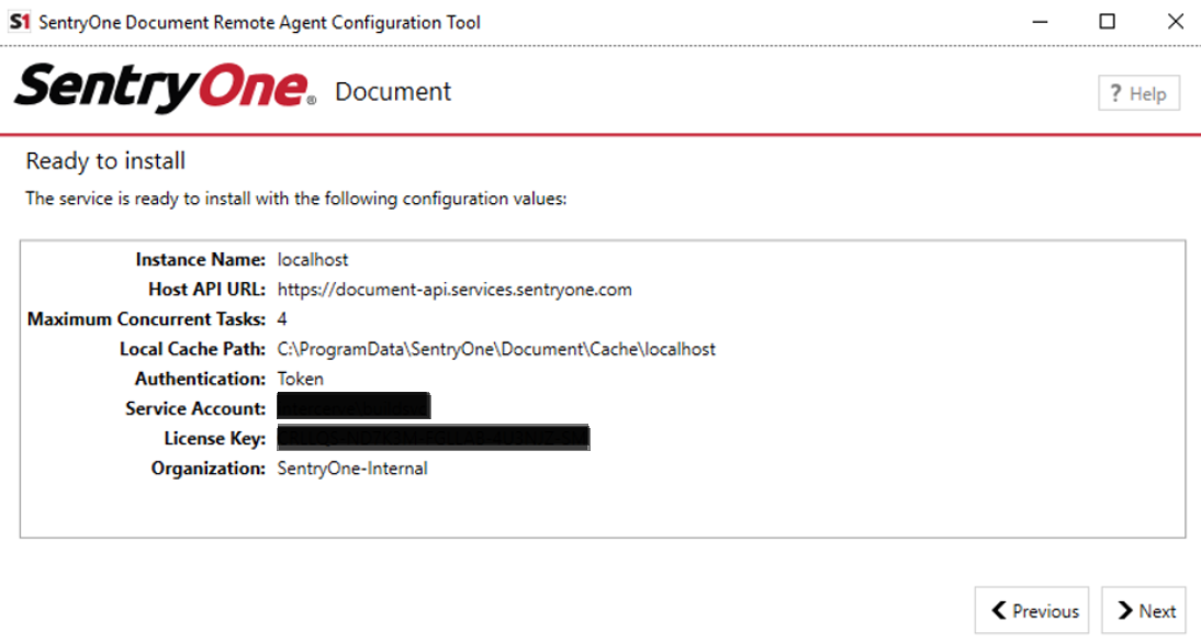 SentryOne Document Configuration Tool