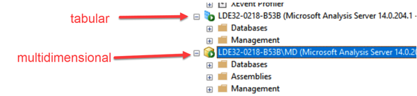 Tabular and Multidimensional Icons in SSMS