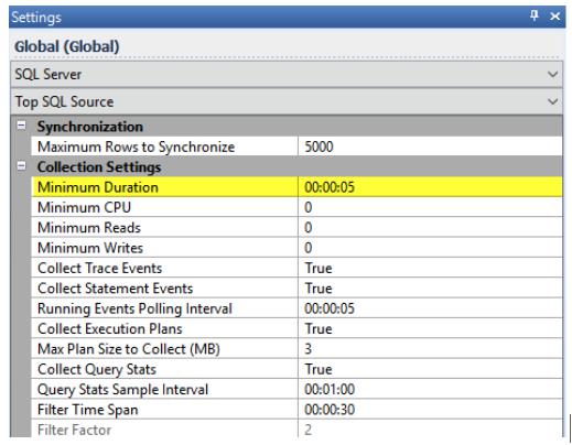 Top SQL's Minimum Duration Setting