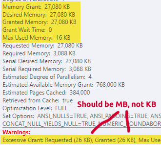 Memory Grant Warnings in ToolTip