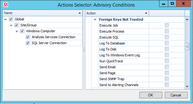 Actions Selector: Advisory Conditions