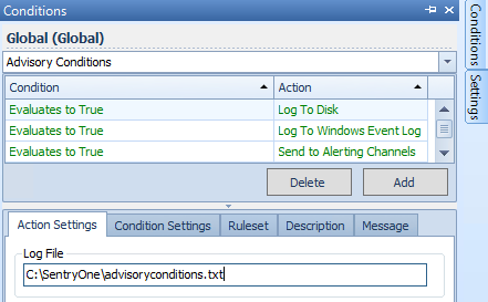 Available Actions - Log to Disk Settings