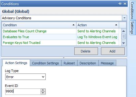Log to Windows Event Log Settings