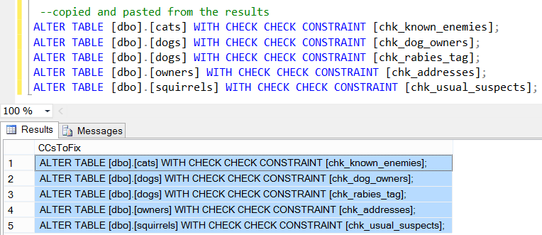 Generated Scripts to Fix Check Constraints