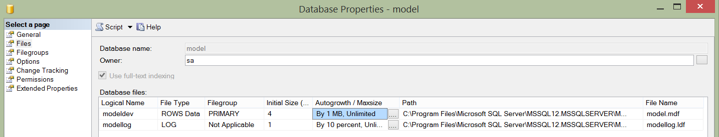 Model Database File Growth
