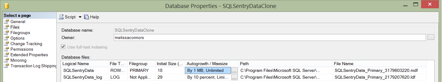 SQLSentryDataClone File Growth and Names
