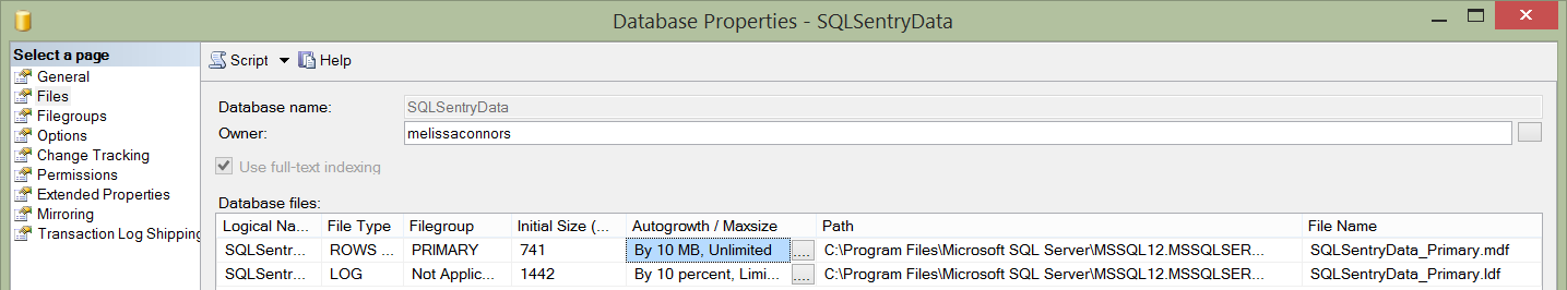 SQLSentryData File Growth
