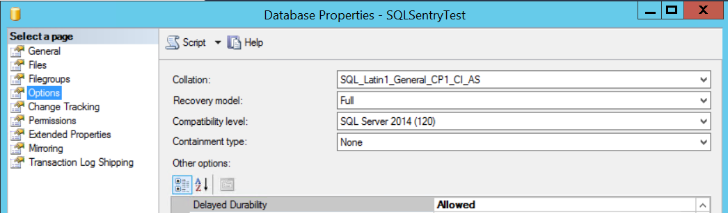 SSMS Database Properties Options