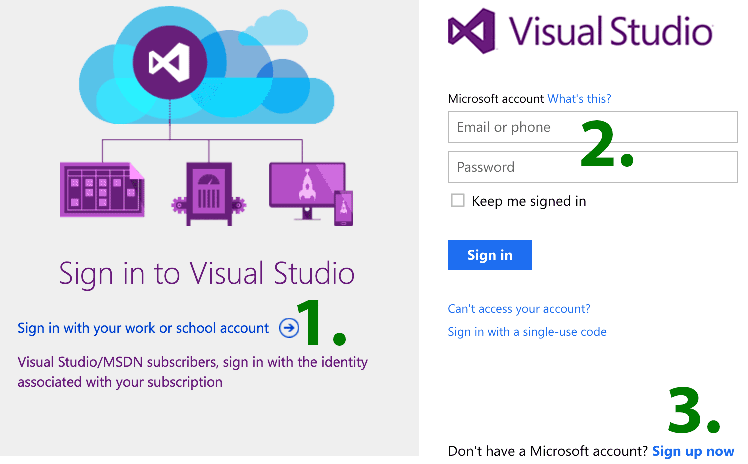 Visual Studio Sign-In