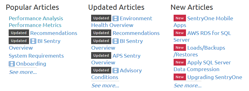 SentryOne Documentation Popular, Updated, New Articles