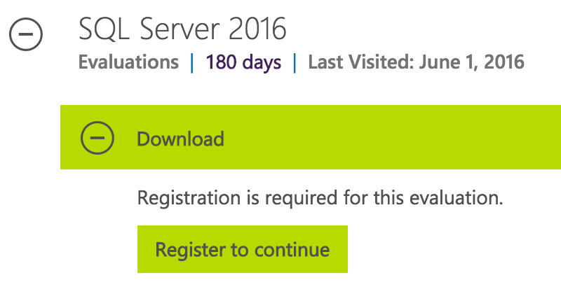 Evaluate SQL Server : Register to Continue