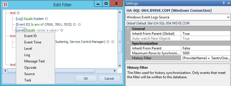 History Filter Windows Event Logs Source
