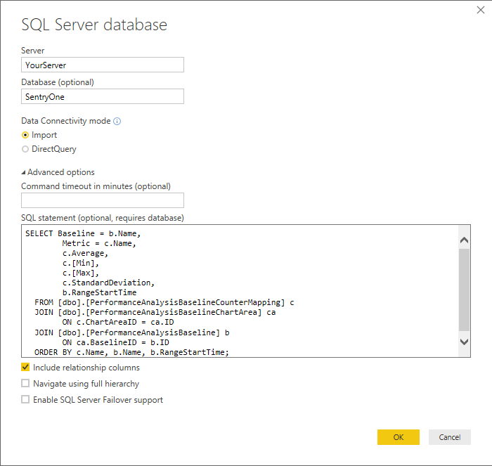 Set the SQL Server Information via Power BI