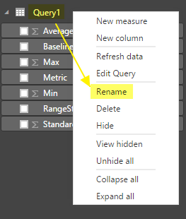 Rename the Data set/Query to Baselines
