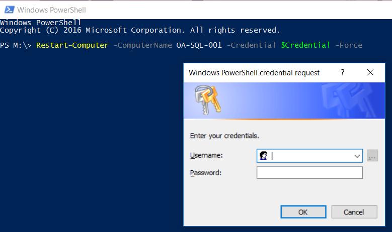 PowerShell Restart-Computer with Login Popup Window