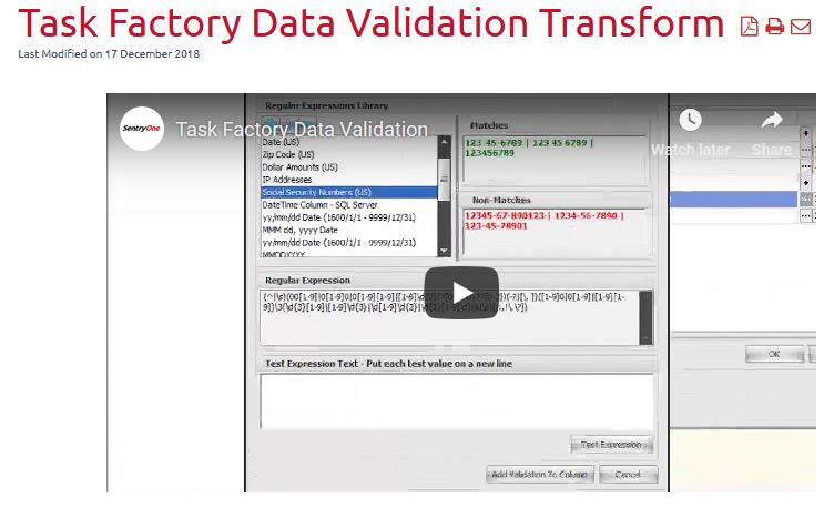 Task Factory Documentation Embedded Video
