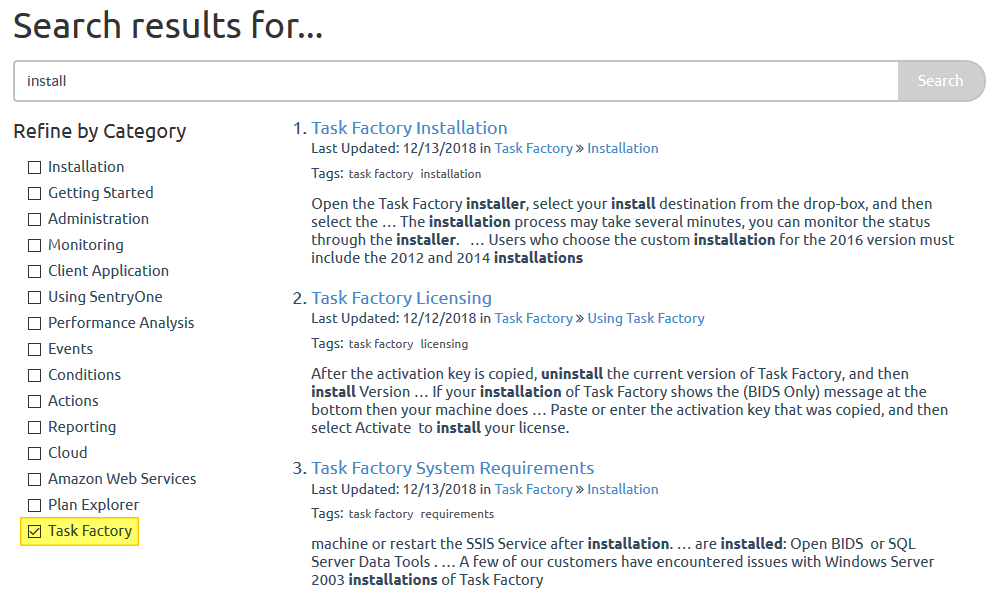 Task Factory Documentation Search Results